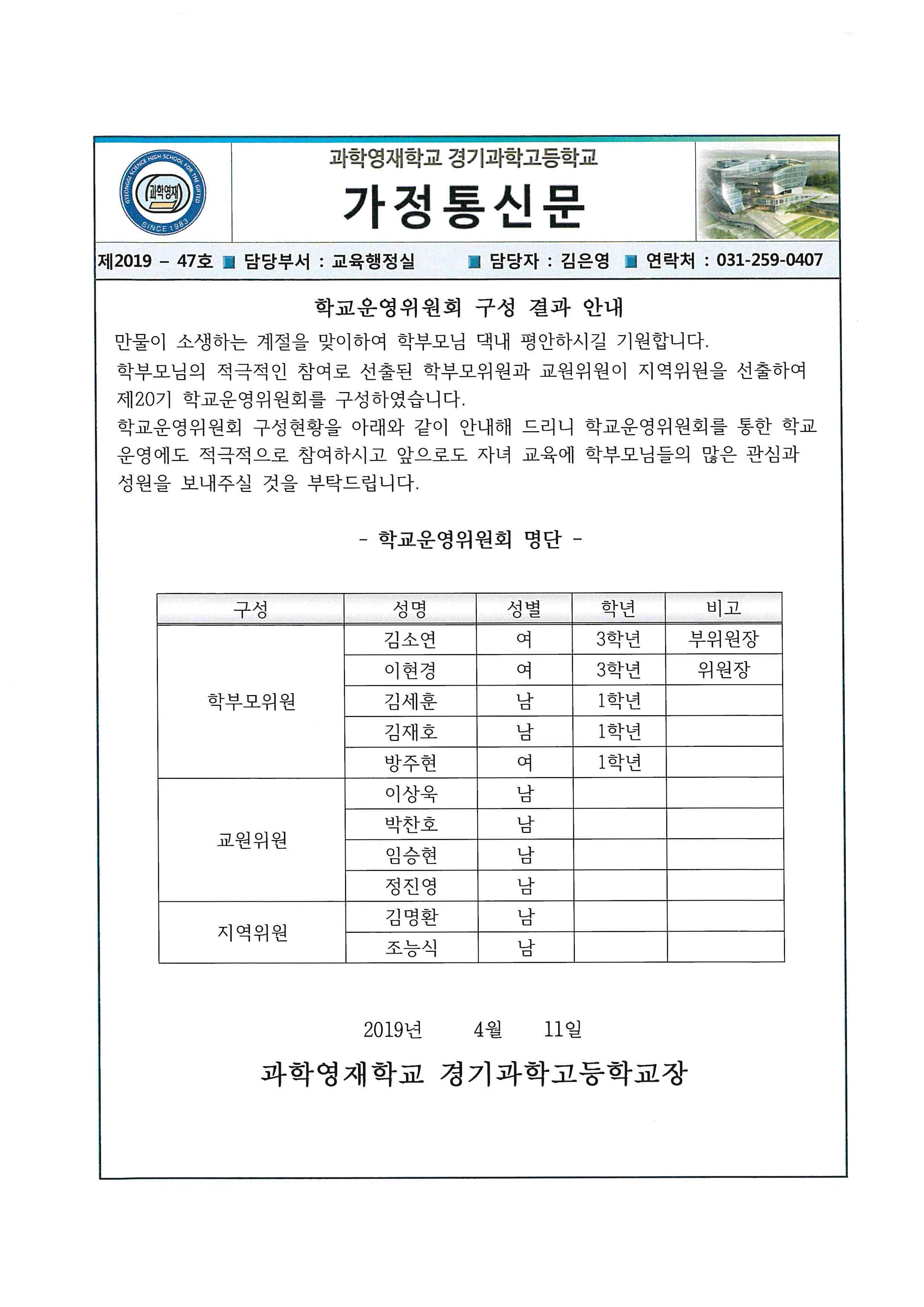 학교운영위원회 구성 결과 안내 0Page.